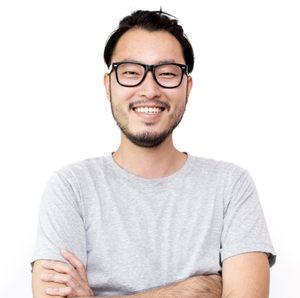 person smiling against a white background
